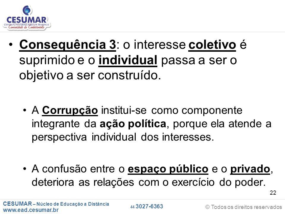 CESUMAR – Núcleo de Educação a Distância www.ead.cesumar.br © Todos os direitos reservados 44 3027-6363 22 Consequência 3: o interesse coletivo é supr