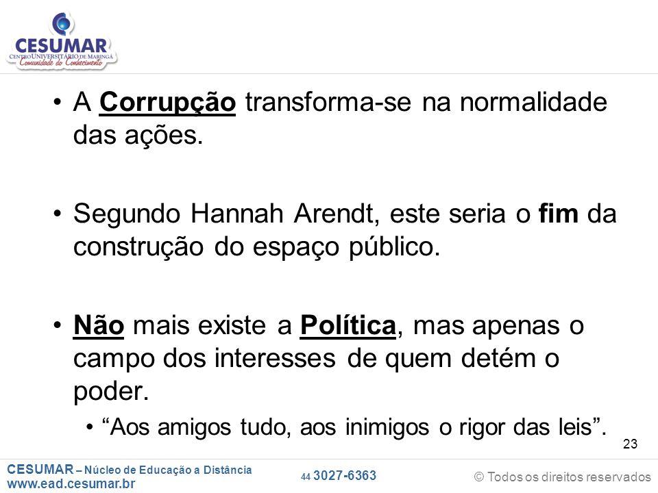 CESUMAR – Núcleo de Educação a Distância www.ead.cesumar.br © Todos os direitos reservados 44 3027-6363 23 A Corrupção transforma-se na normalidade da