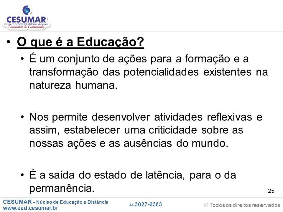 CESUMAR – Núcleo de Educação a Distância www.ead.cesumar.br © Todos os direitos reservados 44 3027-6363 25 O que é a Educação? É um conjunto de ações