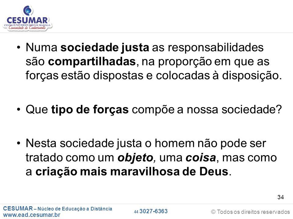 CESUMAR – Núcleo de Educação a Distância www.ead.cesumar.br © Todos os direitos reservados 44 3027-6363 34 Numa sociedade justa as responsabilidades s