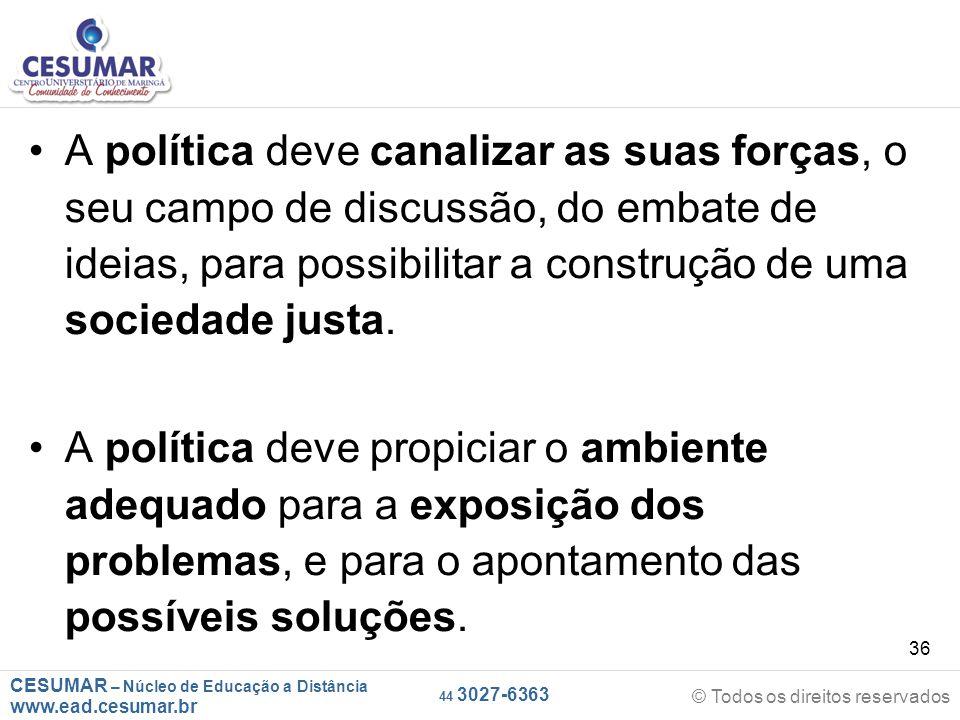 CESUMAR – Núcleo de Educação a Distância www.ead.cesumar.br © Todos os direitos reservados 44 3027-6363 36 A política deve canalizar as suas forças, o