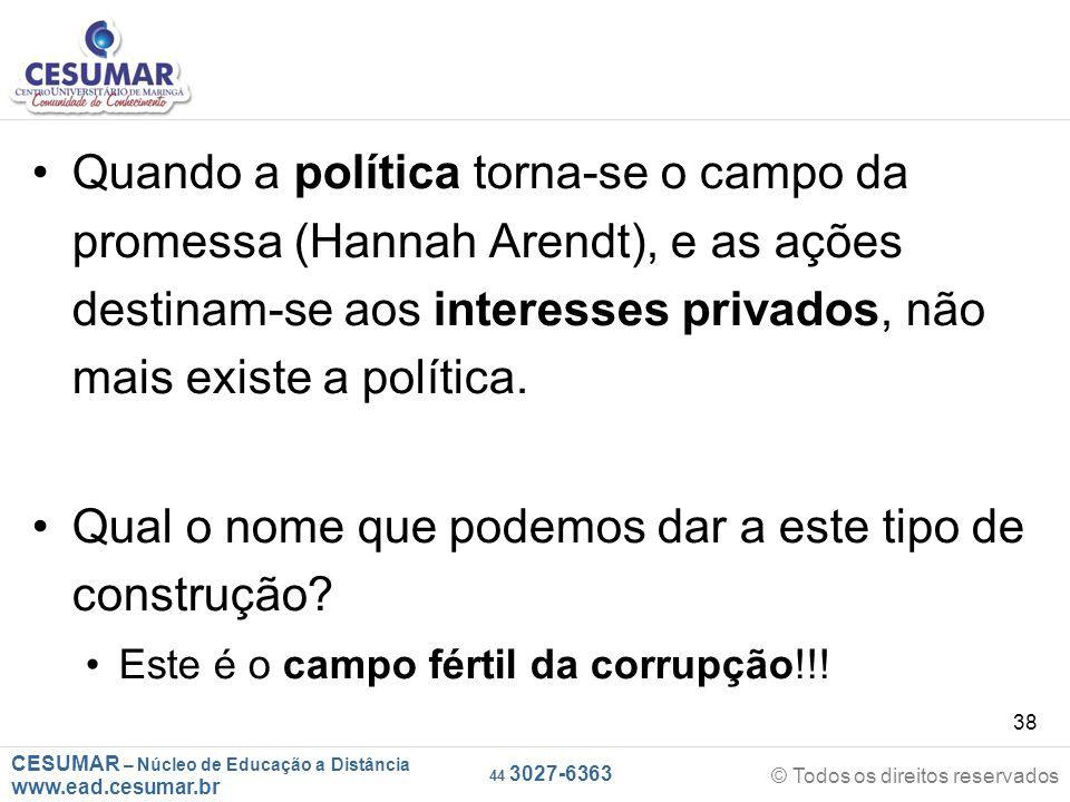 CESUMAR – Núcleo de Educação a Distância www.ead.cesumar.br © Todos os direitos reservados 44 3027-6363 38 Quando a política torna-se o campo da prome
