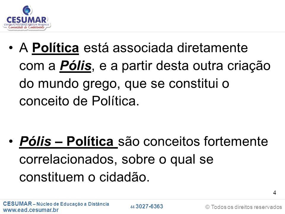 CESUMAR – Núcleo de Educação a Distância www.ead.cesumar.br © Todos os direitos reservados 44 3027-6363 4 A Política está associada diretamente com a