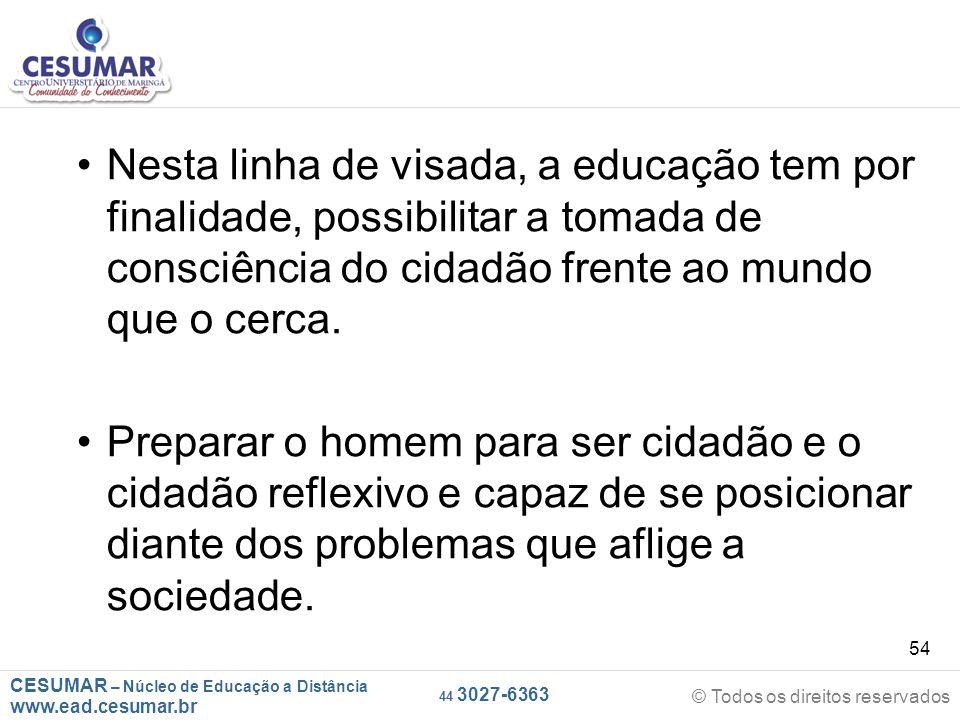CESUMAR – Núcleo de Educação a Distância www.ead.cesumar.br © Todos os direitos reservados 44 3027-6363 54 Nesta linha de visada, a educação tem por f