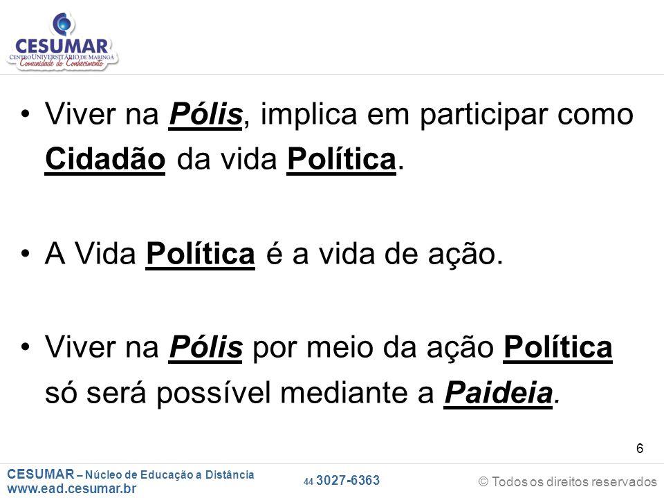 CESUMAR – Núcleo de Educação a Distância www.ead.cesumar.br © Todos os direitos reservados 44 3027-6363 6 Viver na Pólis, implica em participar como C