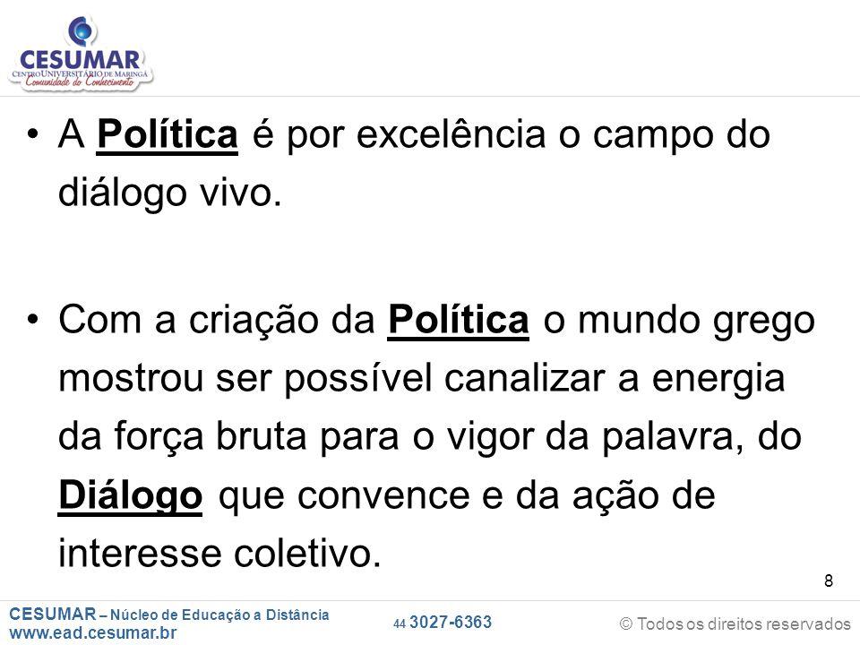 CESUMAR – Núcleo de Educação a Distância www.ead.cesumar.br © Todos os direitos reservados 44 3027-6363 8 A Política é por excelência o campo do diálo
