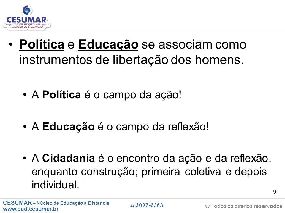 CESUMAR – Núcleo de Educação a Distância www.ead.cesumar.br © Todos os direitos reservados 44 3027-6363 9 Política e Educação se associam como instrum