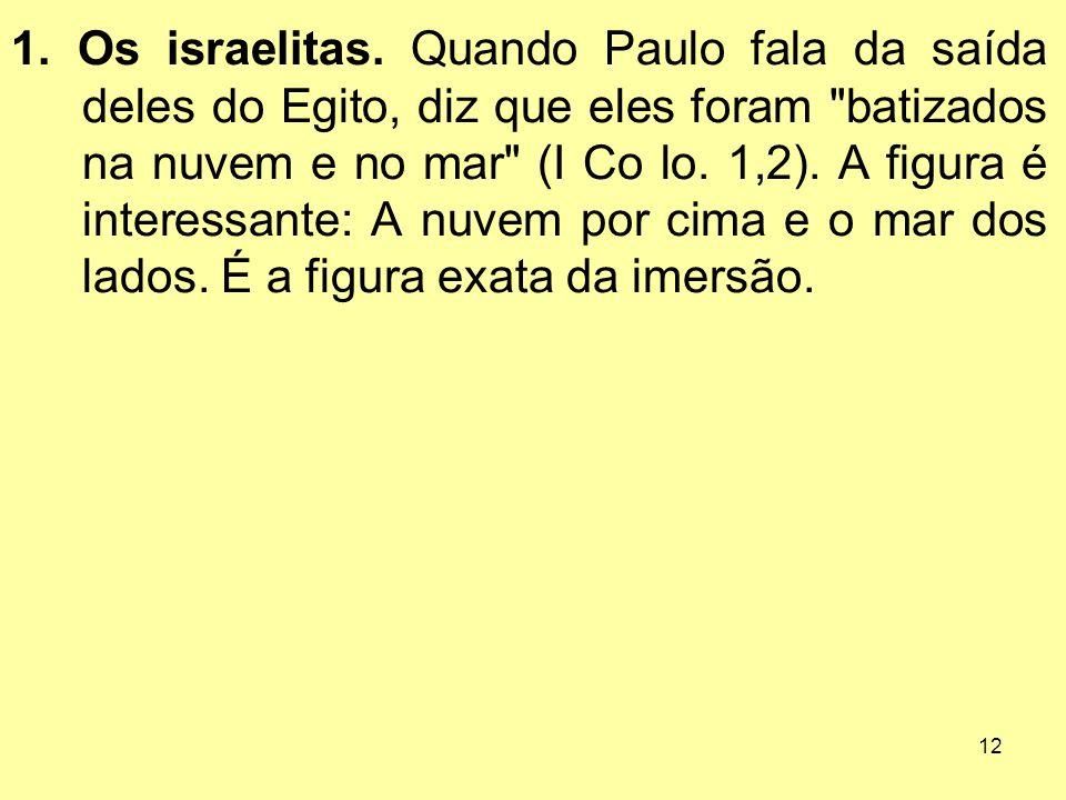 12 1. Os israelitas. Quando Paulo fala da saída deles do Egito, diz que eles foram