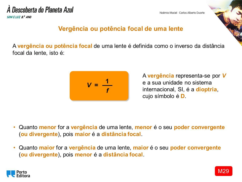 A vergência ou potência focal de uma lente é definida como o inverso da distância focal da lente, isto é: Vergência ou potência focal de uma lente A v