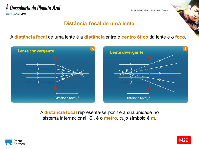A distância focal de uma lente é a distância entre o centro ótico da lente e o foco. Distância focal de uma lente A distância focal representa-se por