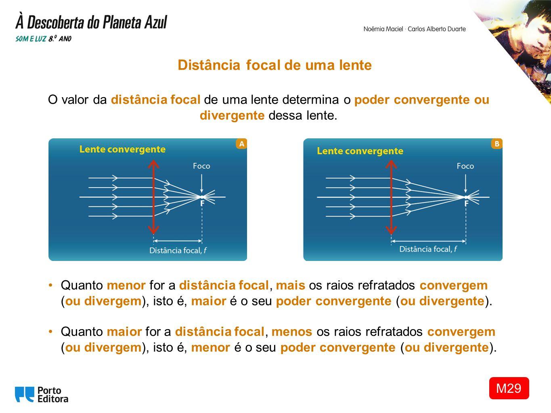 O valor da distância focal de uma lente determina o poder convergente ou divergente dessa lente. Distância focal de uma lente Quanto menor for a distâ