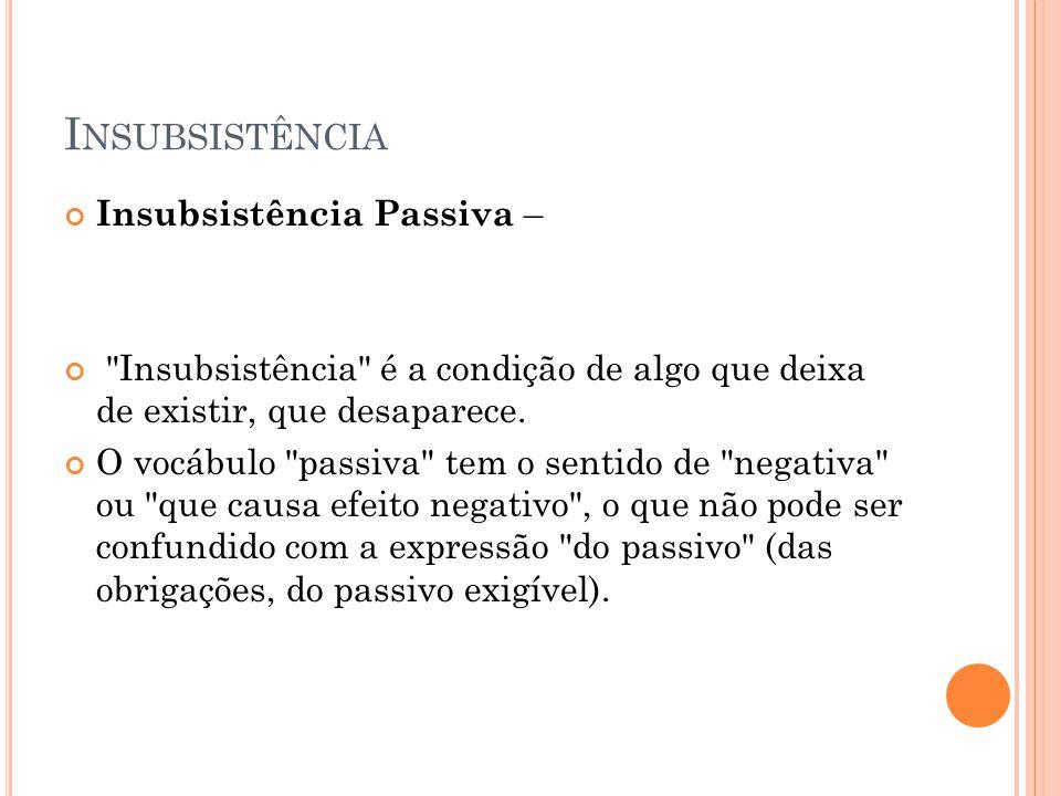 I NSUBSISTÊNCIA Insubsistência Passiva –