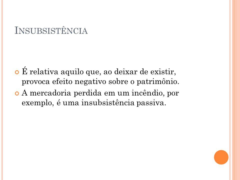 I NSUBSISTÊNCIA Não se trata de uma insubsistência do passivo.