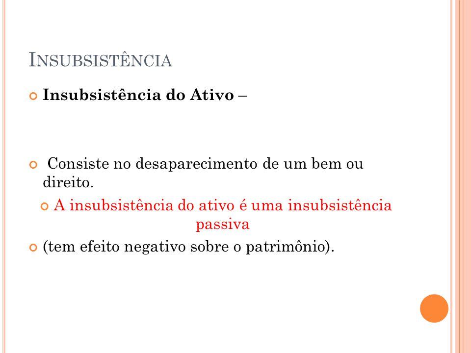 I NSUBSISTÊNCIA Insubsistência do Ativo – Consiste no desaparecimento de um bem ou direito. A insubsistência do ativo é uma insubsistência passiva (te