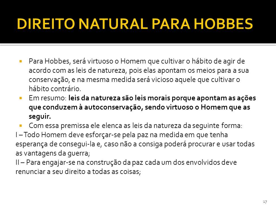  Para Hobbes, será virtuoso o Homem que cultivar o hábito de agir de acordo com as leis de natureza, pois elas apontam os meios para a sua conservaçã