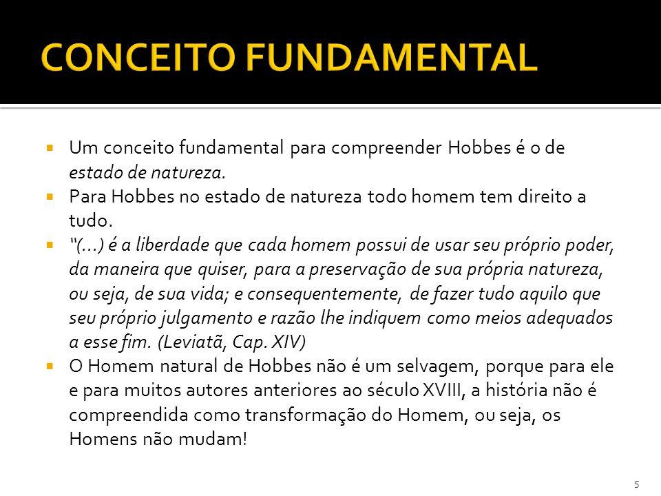 """ Um conceito fundamental para compreender Hobbes é o de estado de natureza.  Para Hobbes no estado de natureza todo homem tem direito a tudo.  """"(.."""