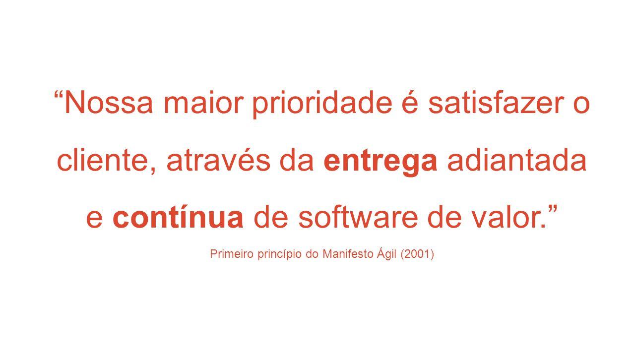 Nossa maior prioridade é satisfazer o cliente, através da entrega adiantada e contínua de software de valor. Primeiro princípio do Manifesto Ágil (2001)