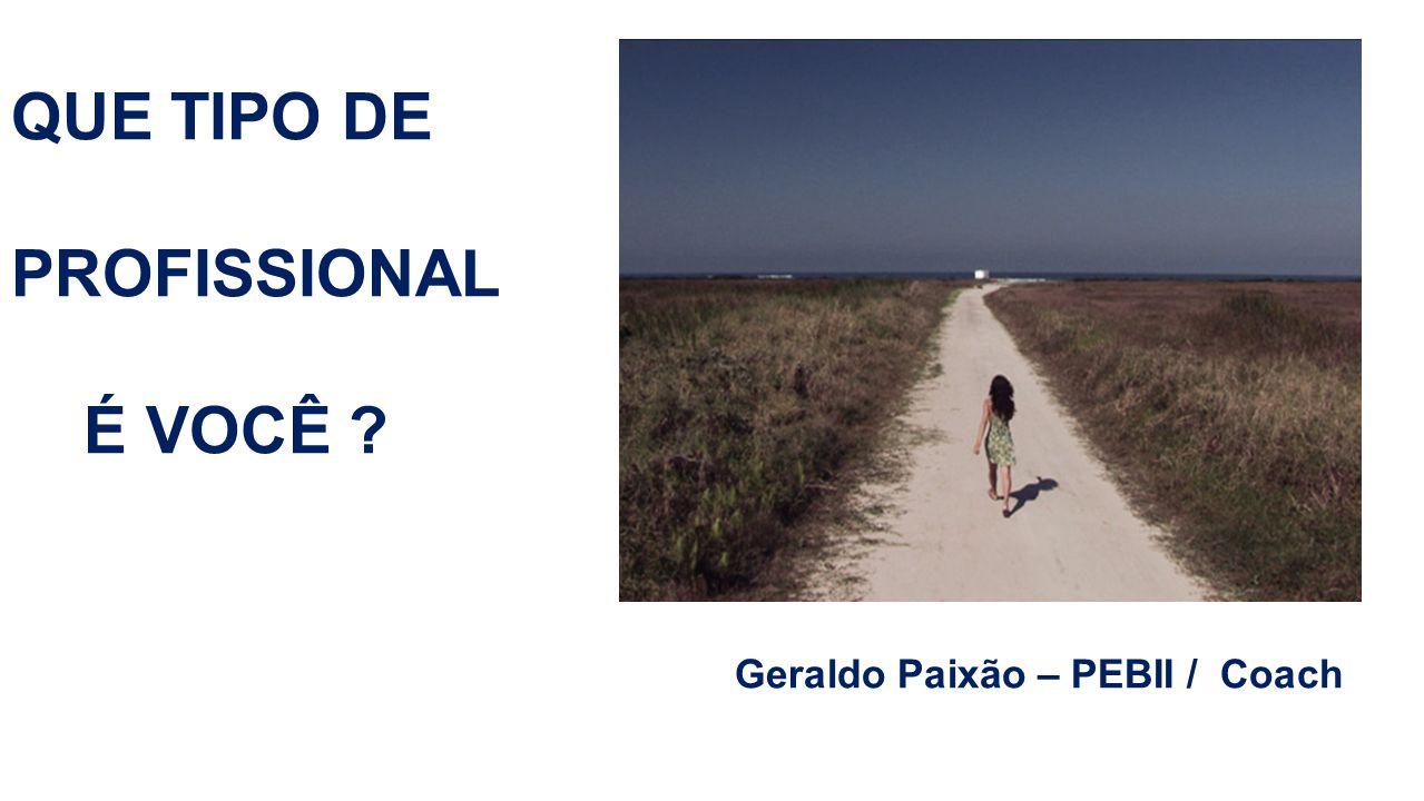 QUE TIPO DE PROFISSIONAL É VOCÊ ? Geraldo Paixão – PEBII / Coach