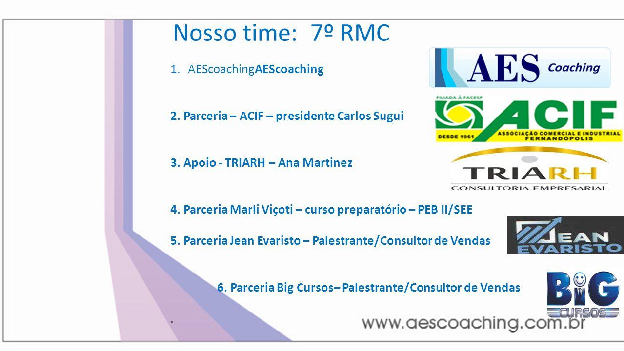Nosso time: 7º RMC 1.AEScoachingAEScoaching 2. Parceria – ACIF – presidente Carlos Sugui 3. Apoio - TRIARH – Ana Martinez 4. Parceria Marli Viçoti – c