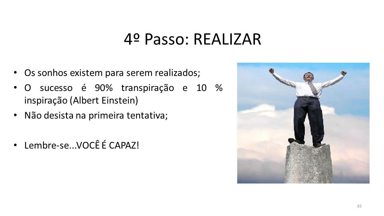 4º Passo: REALIZAR Os sonhos existem para serem realizados; O sucesso é 90% transpiração e 10 % inspiração (Albert Einstein) Não desista na primeira t