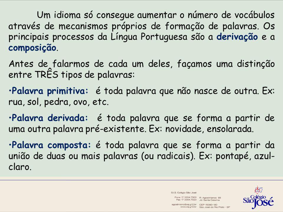 Um idioma só consegue aumentar o número de vocábulos através de mecanismos próprios de formação de palavras.