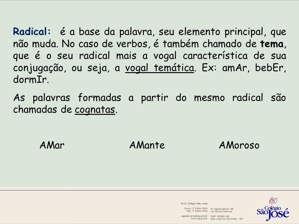 Radical: é a base da palavra, seu elemento principal, que não muda.