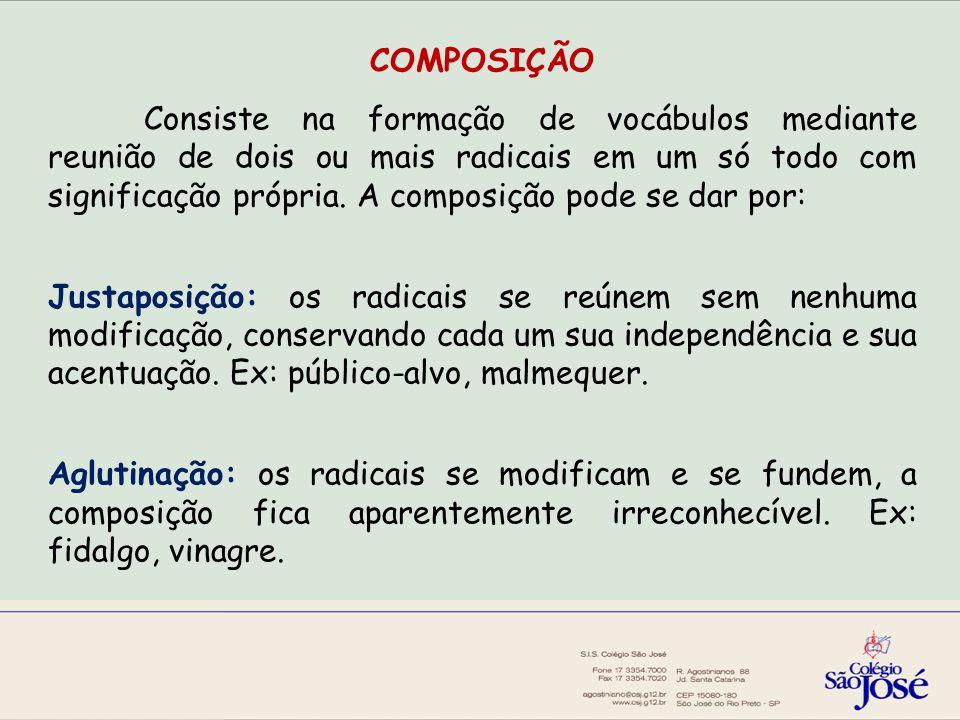 COMPOSIÇÃO Consiste na formação de vocábulos mediante reunião de dois ou mais radicais em um só todo com significação própria.