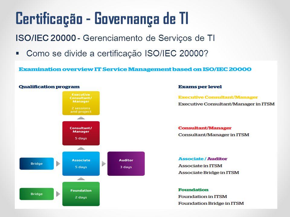 Certificação - Governança de TI ISO/IEC 20000 - Gerenciamento de Serviços de TI  Como se divide a certificação ISO/IEC 20000?