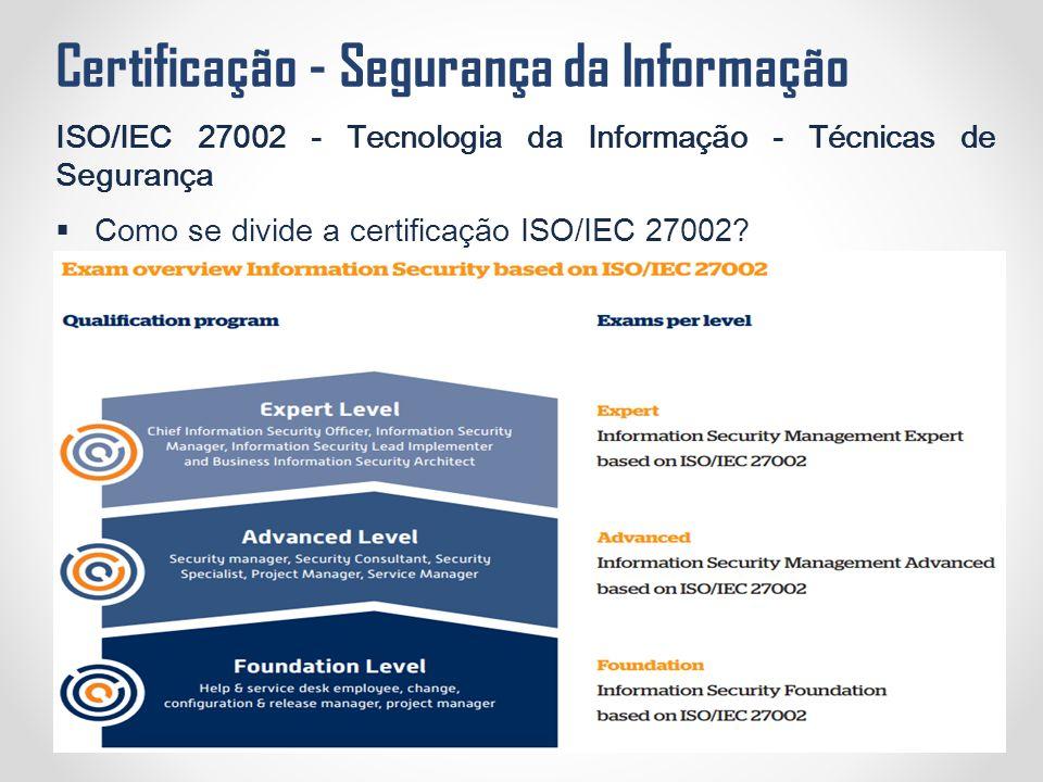 Certificação - Segurança da Informação ISO/IEC 27002 - Tecnologia da Informação - Técnicas de Segurança  Como se divide a certificação ISO/IEC 27002?