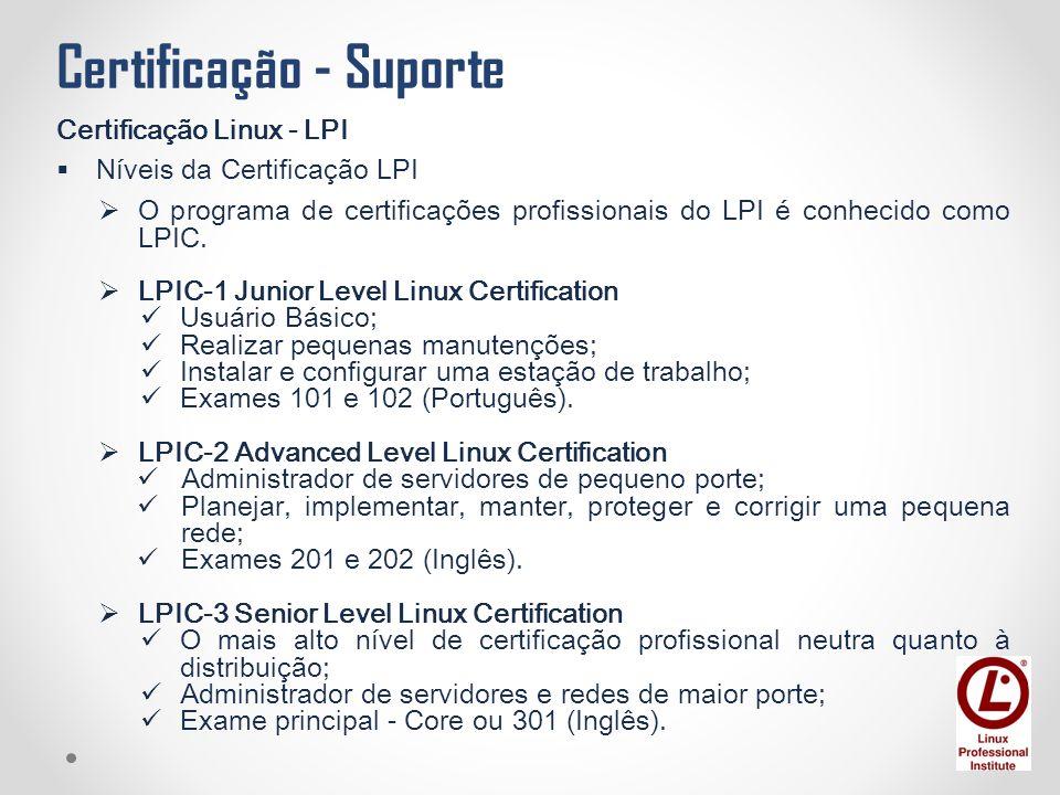 Certificação - Suporte Certificação Linux - LPI  Níveis da Certificação LPI  O programa de certificações profissionais do LPI é conhecido como LPIC.