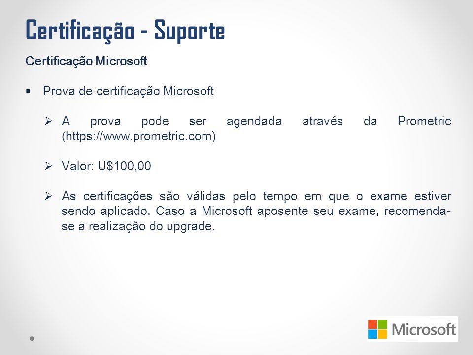 Certificação - Suporte Certificação Microsoft  Prova de certificação Microsoft  A prova pode ser agendada através da Prometric (https://www.prometri