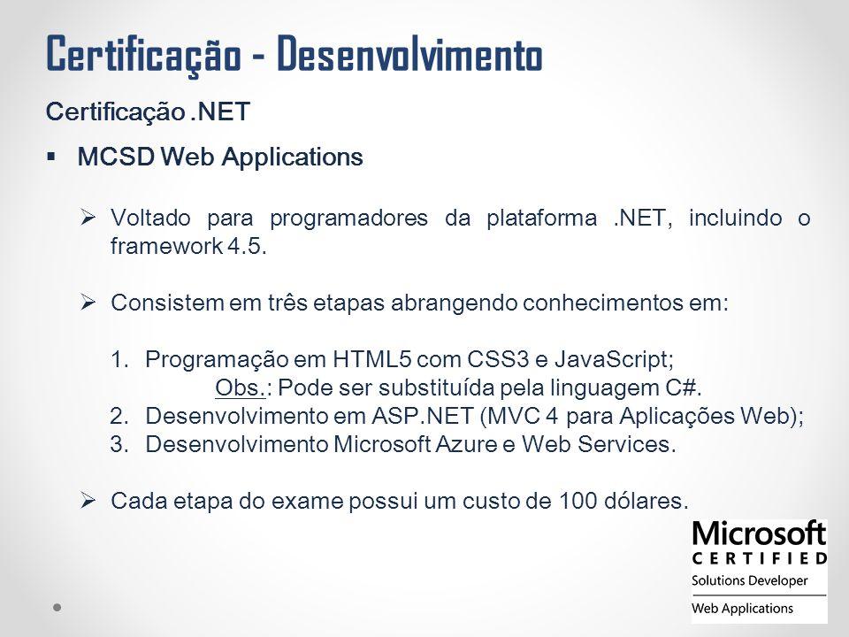 Certificação - Desenvolvimento Certificação.NET  MCSD Web Applications  Voltado para programadores da plataforma.NET, incluindo o framework 4.5.  C