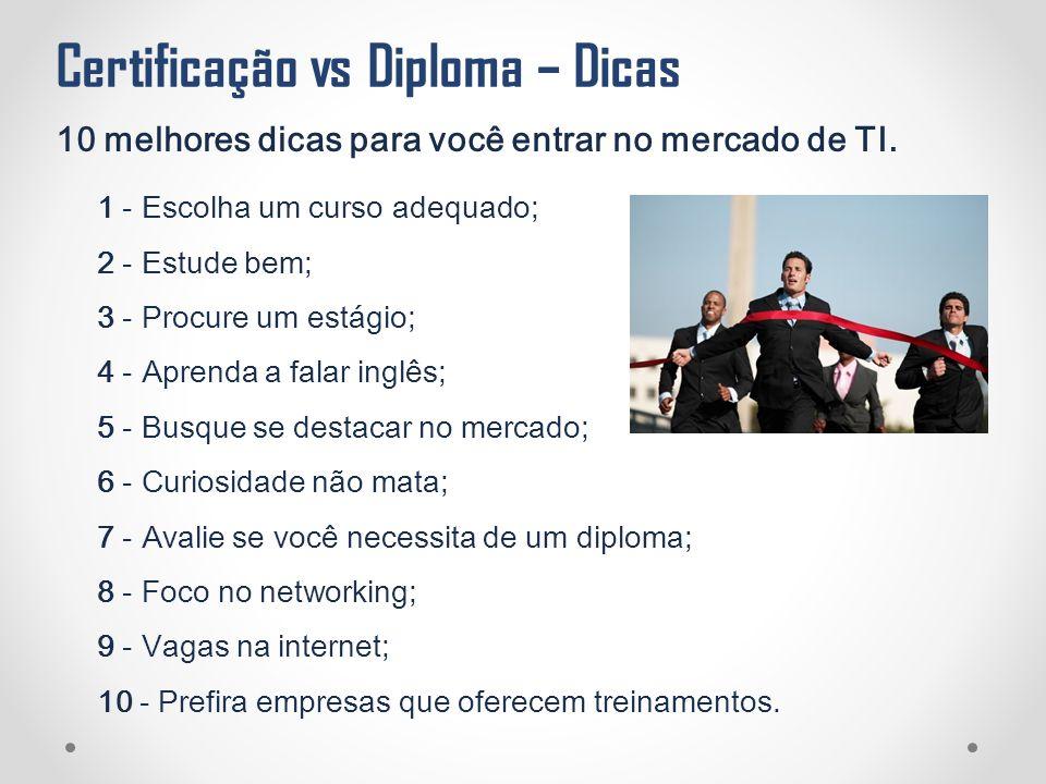 Certificação vs Diploma – Dicas 10 melhores dicas para você entrar no mercado de TI. 1 - Escolha um curso adequado; 2 - Estude bem; 3 - Procure um est