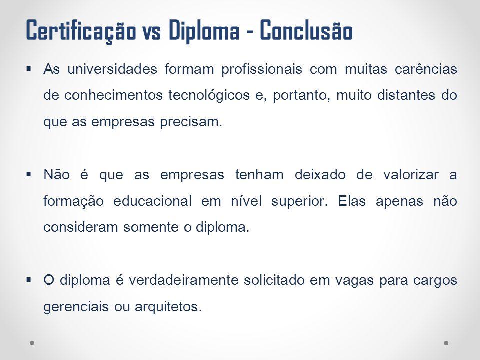 Certificação vs Diploma - Conclusão  As universidades formam profissionais com muitas carências de conhecimentos tecnológicos e, portanto, muito dist