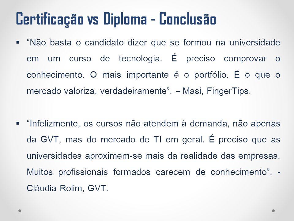 """Certificação vs Diploma - Conclusão  """"Não basta o candidato dizer que se formou na universidade em um curso de tecnologia. É preciso comprovar o conh"""