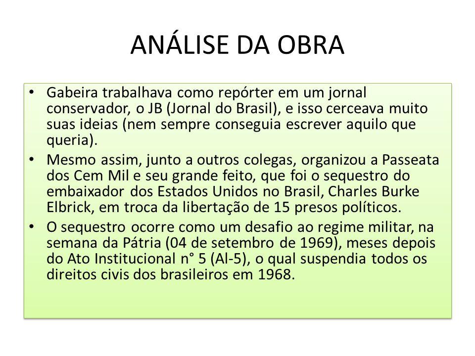 ANÁLISE DA OBRA Gabeira trabalhava como repórter em um jornal conservador, o JB (Jornal do Brasil), e isso cerceava muito suas ideias (nem sempre cons