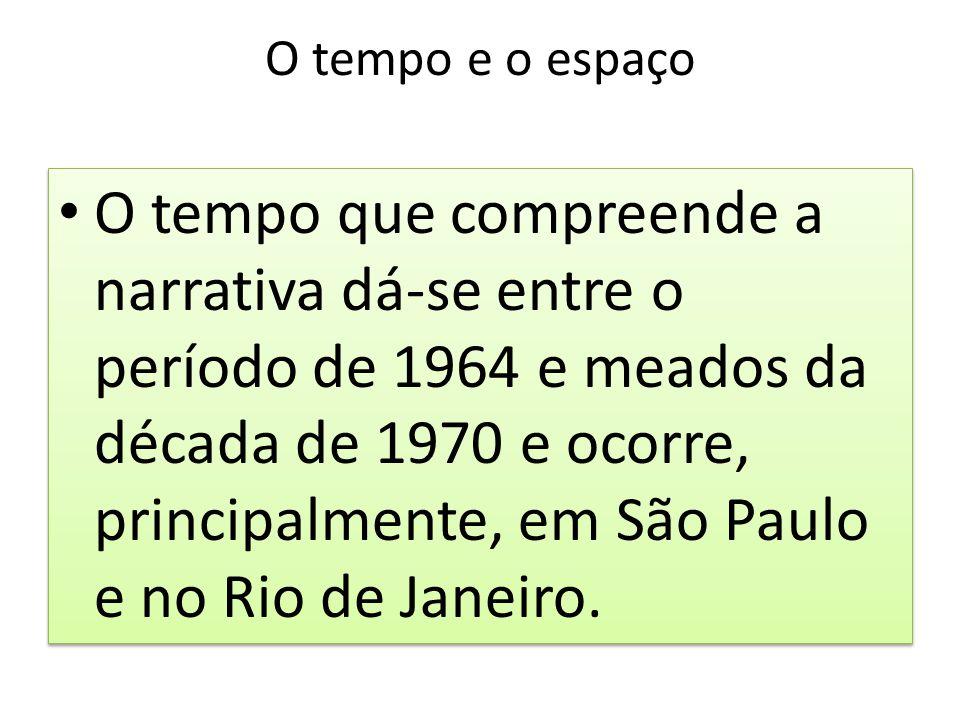 O tempo e o espaço O tempo que compreende a narrativa dá-se entre o período de 1964 e meados da década de 1970 e ocorre, principalmente, em São Paulo