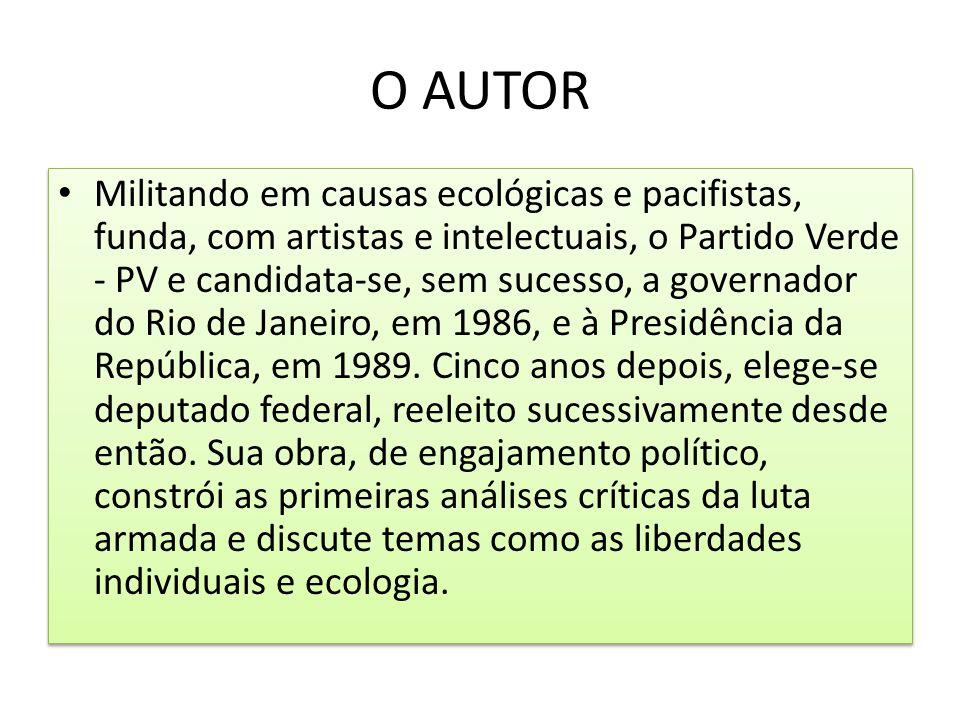O AUTOR Militando em causas ecológicas e pacifistas, funda, com artistas e intelectuais, o Partido Verde - PV e candidata-se, sem sucesso, a governado