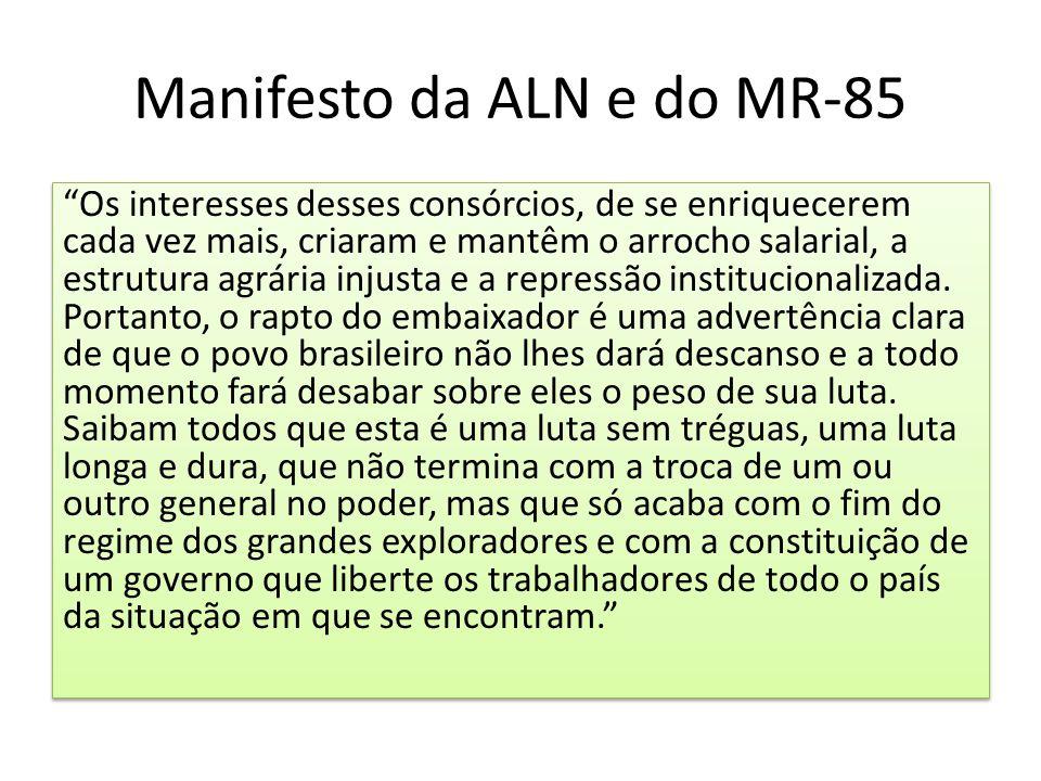 """Manifesto da ALN e do MR-85 """"Os interesses desses consórcios, de se enriquecerem cada vez mais, criaram e mantêm o arrocho salarial, a estrutura agrár"""