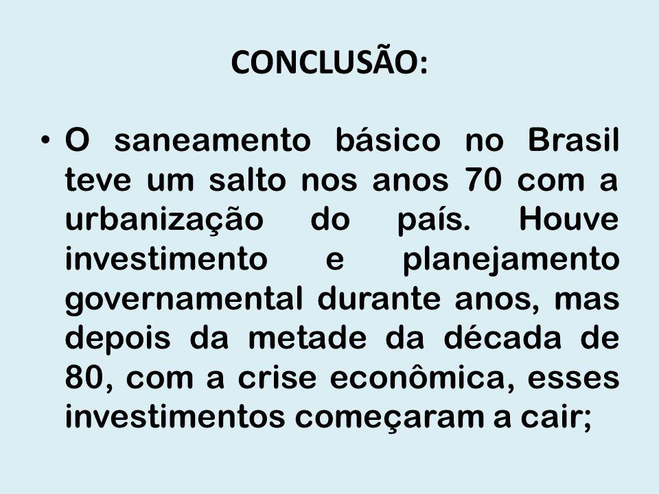 CONCLUSÃO: O saneamento básico no Brasil teve um salto nos anos 70 com a urbanização do país. Houve investimento e planejamento governamental durante