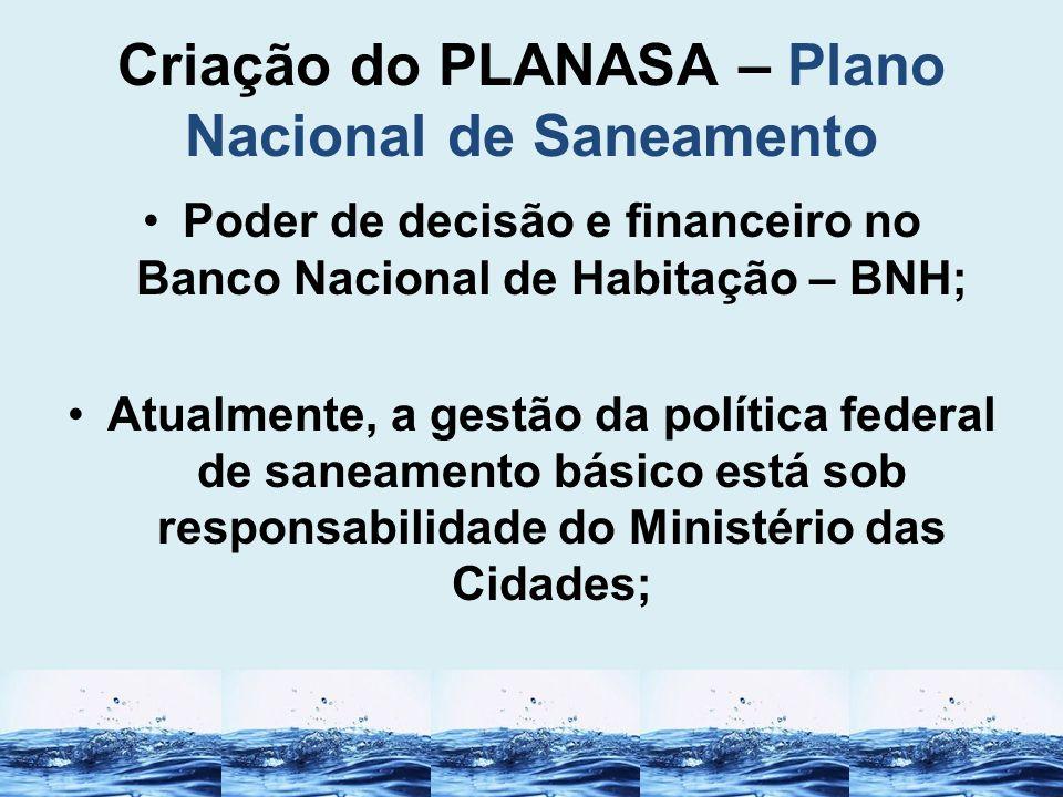 Criação do PLANASA – Plano Nacional de Saneamento Poder de decisão e financeiro no Banco Nacional de Habitação – BNH; Atualmente, a gestão da política
