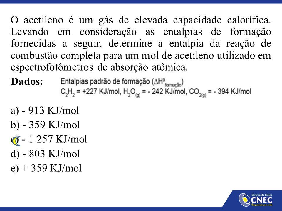 O acetileno é um gás de elevada capacidade calorífica. Levando em consideração as entalpias de formação fornecidas a seguir, determine a entalpia da r