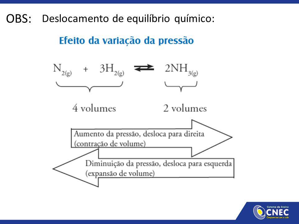 Deslocamento de equilíbrio químico: OBS: