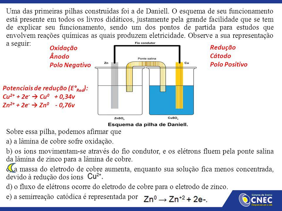 Uma das primeiras pilhas construídas foi a de Daniell. O esquema de seu funcionamento está presente em todos os livros didáticos, justamente pela gran