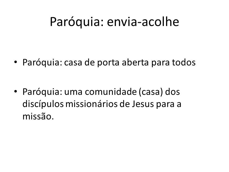 Paróquia: envia-acolhe Paróquia: casa de porta aberta para todos Paróquia: uma comunidade (casa) dos discípulos missionários de Jesus para a missão.