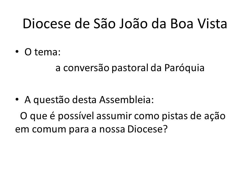 Diocese de São João da Boa Vista O tema: a conversão pastoral da Paróquia A questão desta Assembleia: O que é possível assumir como pistas de ação em comum para a nossa Diocese?
