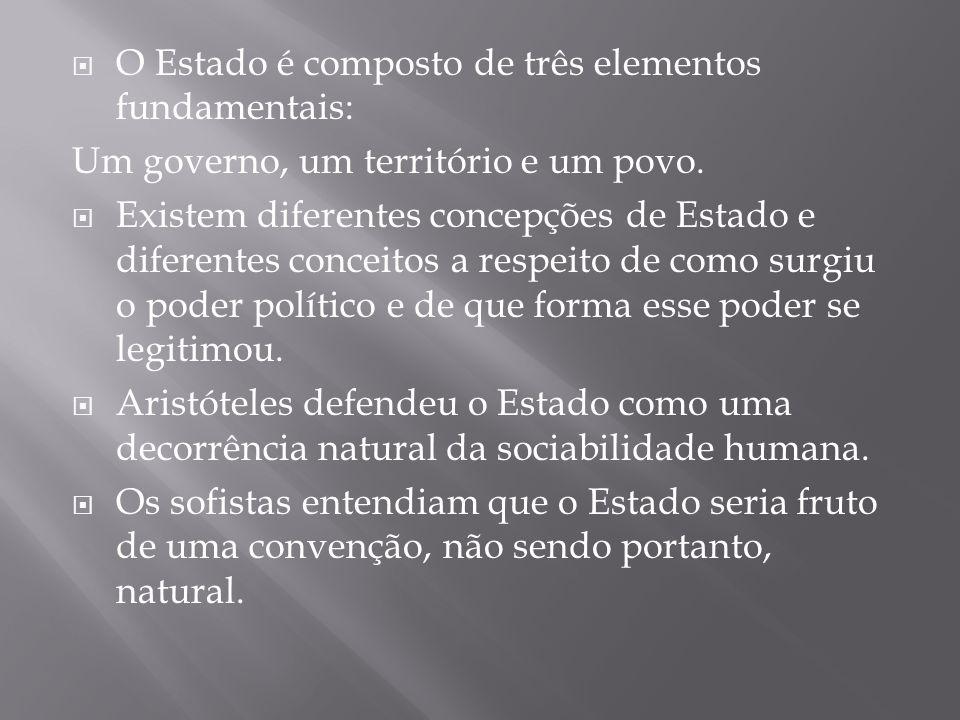  O Estado é composto de três elementos fundamentais: Um governo, um território e um povo.  Existem diferentes concepções de Estado e diferentes conc