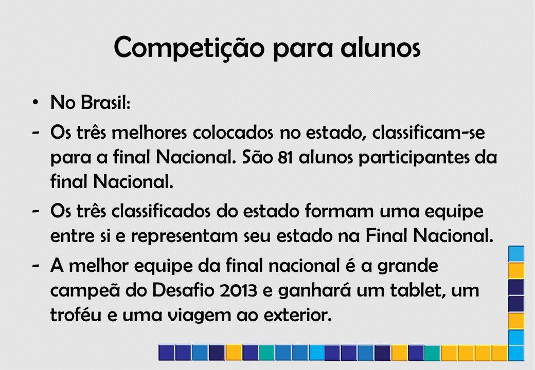 Competição para alunos No Brasil: -Os três melhores colocados no estado, classificam-se para a final Nacional.