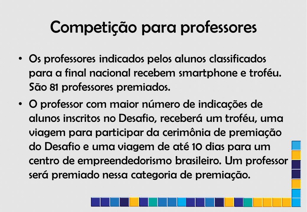 Competição para professores Os professores indicados pelos alunos classificados para a final nacional recebem smartphone e troféu.