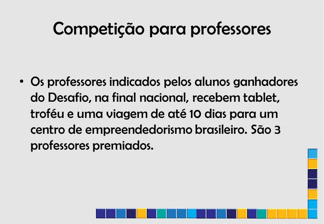 Competição para professores Os professores indicados pelos alunos ganhadores do Desafio, na final nacional, recebem tablet, troféu e uma viagem de até 10 dias para um centro de empreendedorismo brasileiro.
